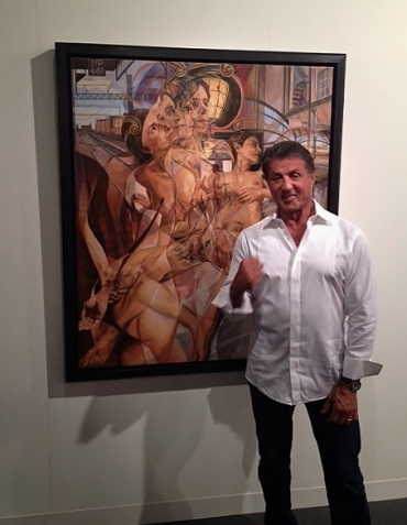 Sylvester Stallone With His New Painting - Art Basel Miami 2015