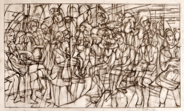 Drawing for Blue Pole Dance (The English Way) 31.6cm x 53.5cm pencil on tracing paper.