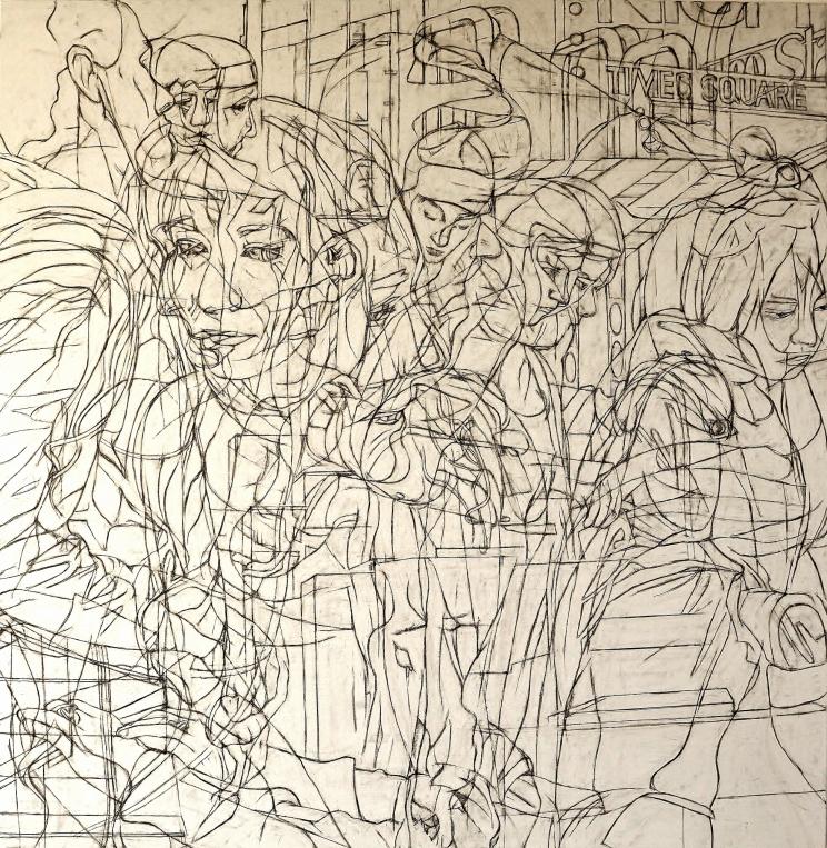 "Pablo's Mares, 2018 Graphite and Oil on canvas, 80"" x 78"" / 203.20cm x 198.12 cm"