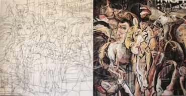 """Pablo's Mares/Pearly White graphite and oil on canvas 80"""" x 156 1/2"""" / 203.2 cm x 397.51 cm"""