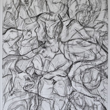 """With Mouflon Spring"" pencil and conte on paper 61.2 cm x 44.3 cm / 24 x 17.4 inches"
