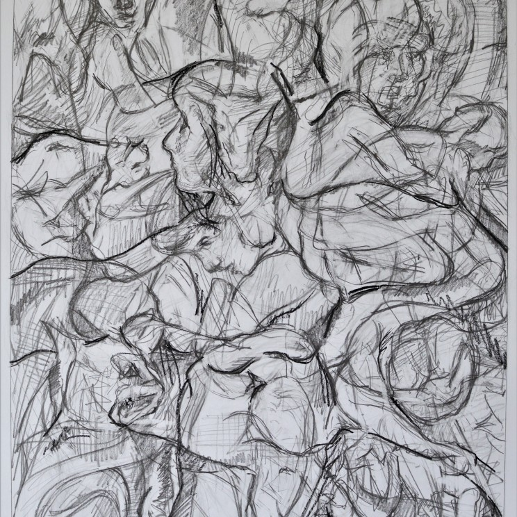 """""""With Mouflon Spring"""" pencil and conte on paper 61.2 cm x 44.3 cm / 24 x 17.4 inches"""