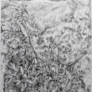 "Europa graphite on cartridge paper 74.9 cm x 55.8 cm / 29.48"" x 21.96"""