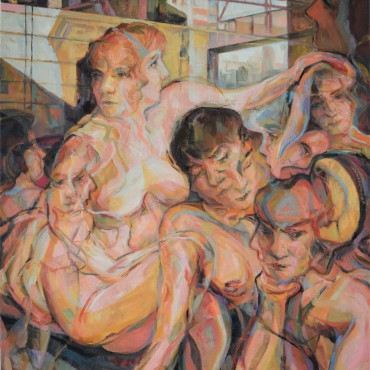 "The Sirens of Hopper's Crib 2020 oil on canvas 40"" x 30"" / 101.6 cm x 76.2 cm"