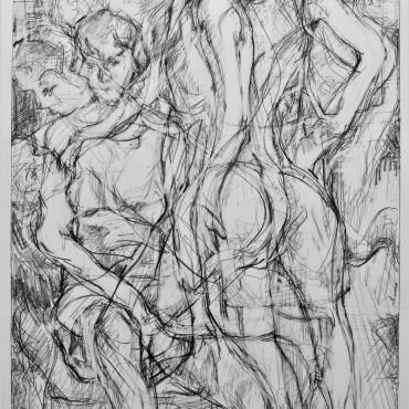 """Otto's Parade"" graphite on cartridge paper 65.8 cm x 38.5 cm / 25.9"" x 15.16"""