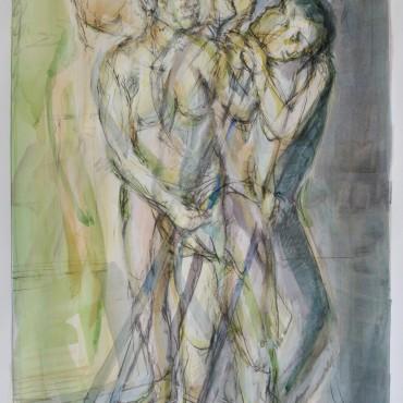 """Cophetua graphite and watercolour on paper 58.5 cm x 31.8 cm / 23"""" x 12.5"""""""
