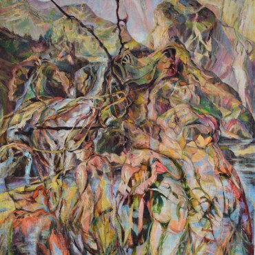 "Playing Fields of Actaeon oil on canvas 50 1/2"" x 36"" / 128.27 cm x 91.44 cm"