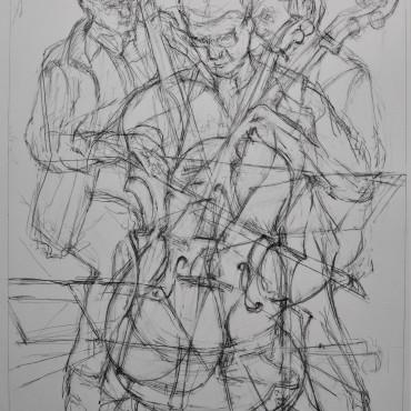 """The Cellist graphite on paper 72.7 cm x 47.6 cm / 28.62"""" x 18.74"""""""